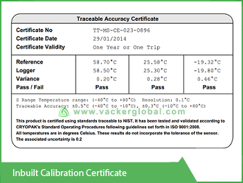Inbuilt Calibration Certificate Vacker UAE
