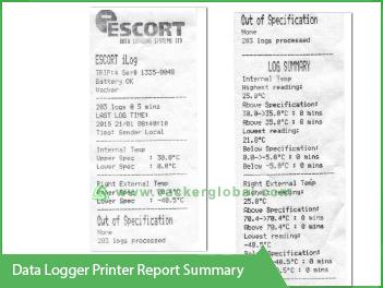 Data Logger printer report summary